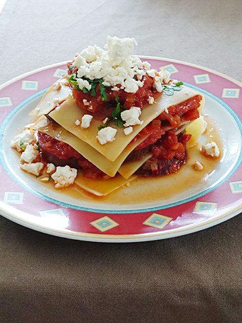 Offene Auberginen-Lasagne